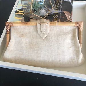 J. McLaughlin clutch Bamboo and linen